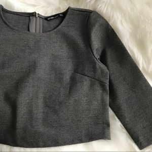 NWOT S Gray Crop Top
